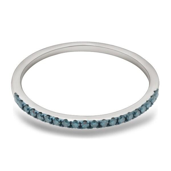 Prism Jewel 0.15Ct Blue Color Diamond Anniversary Band