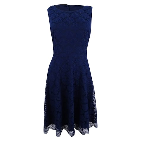 Jessica Simpson Women's Open-Back Lace Fit & Flare Dress - Navy