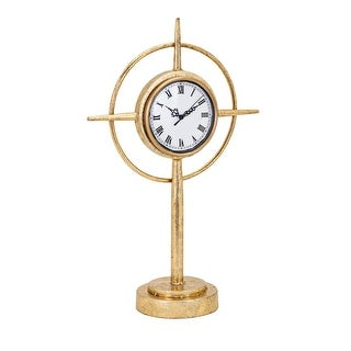 """19.75"""" White and Gold Finish Distressed Roman Numerals Compass Standing Clock"""