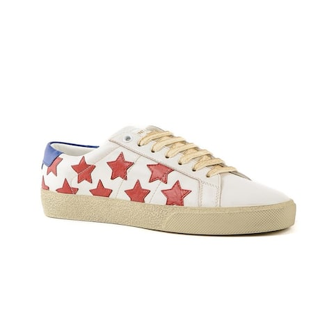 SAINT LAURENT Men's Leather Court Classic Star Sneaker Shoes White