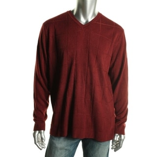 Via Europa Mens Ribbed Trim Long Sleeves V-Neck Sweater - XXL