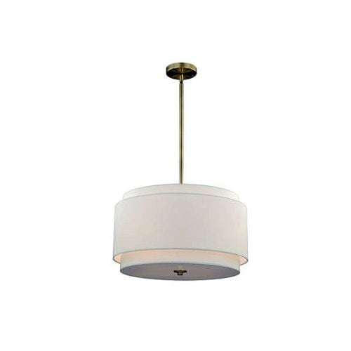 Vaxcel Lighting P0192 Burnaby 4 Light Pendant With White Fabric Shade