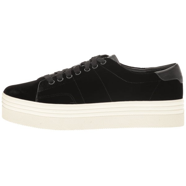Marc Fisher Womens EMMY 6 Velvet Low Top Lace Up, Black, Size 7.5