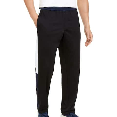 Ideology Mens Track Pant Black Blue White Size XL Colorblock Side Panel