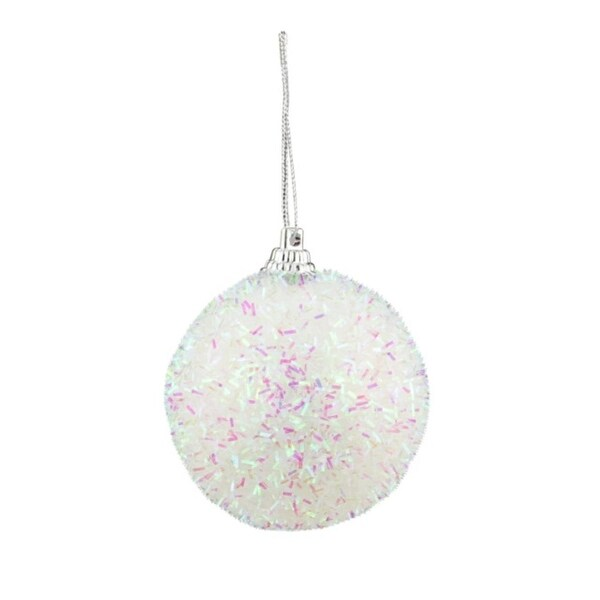 "Pack of 7 Decorative Iridescent White, Pink and Green Bristled Christmas Ball Ornaments 2.25"" - WHITE"