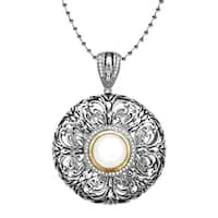 Freshwater Pearl and Diamond Medallion Pendant in Sterling Silver and 14K Gold