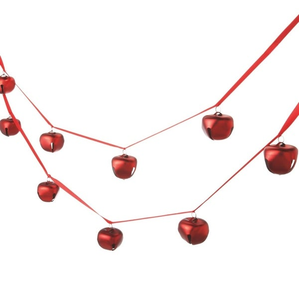 6' Festive Red Jingle Bell Christmas Garland - Unlit