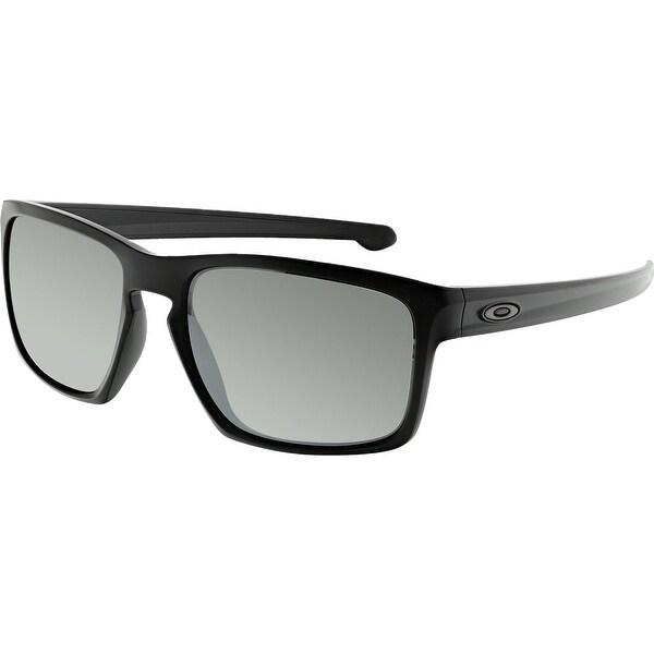 a522d6368e5 Oakley Men  x27 s Polarized Silver OO9262-44 Black Rectangle Sunglasses