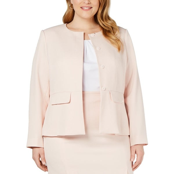 Calvin Klein Womens Jacket Pink Size 16W Plus Textured Peplum Twill. Opens flyout.