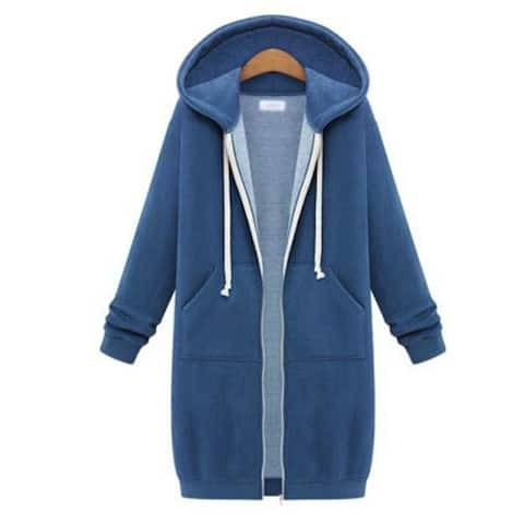 Women's Plus Velvet Thickening Mid-Length Hooded Solid Color Sweater