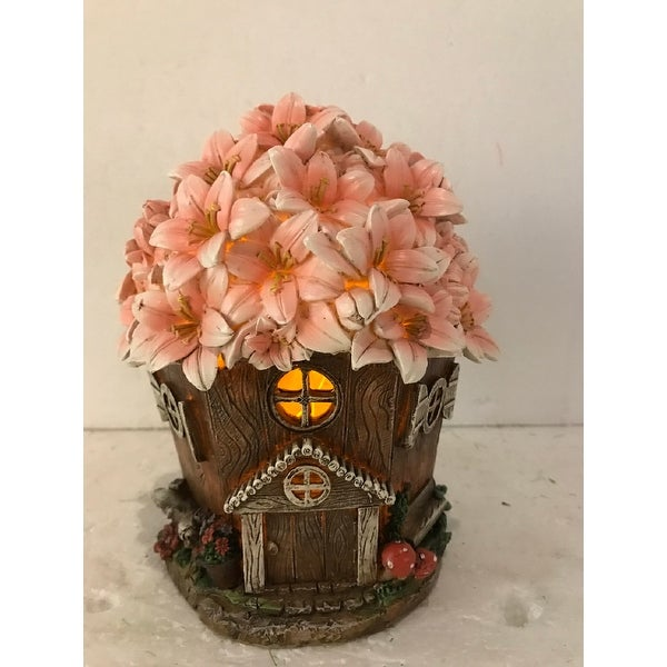 "8.5"" Pink Floral Fairy Garden Home Statue with Solar Light - N/A"