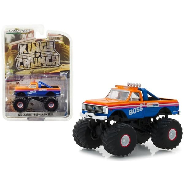 shop 1972 chevrolet k 10 monster truck am pm boss kings of crunch series 3 1 64 diecast model car by greenlight overstock 28760253 overstock com