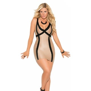 Plus Size Nude And Black Piping Mini Dress, Plus Size Nude And Black Dress