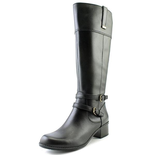 Bandolino Carlotta Wide Calf Women Round Toe Leather Black Knee High Boot