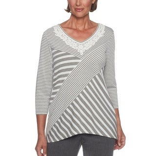 Alfred Dunner Women's Lake Shore Drive Spliced Stripe Embroidered Top