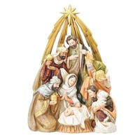 "10.5"" Vibrantly Colored Nativity Scene Beneath the Bethlehem Star Christmas Tabletop Decor - GOLD"