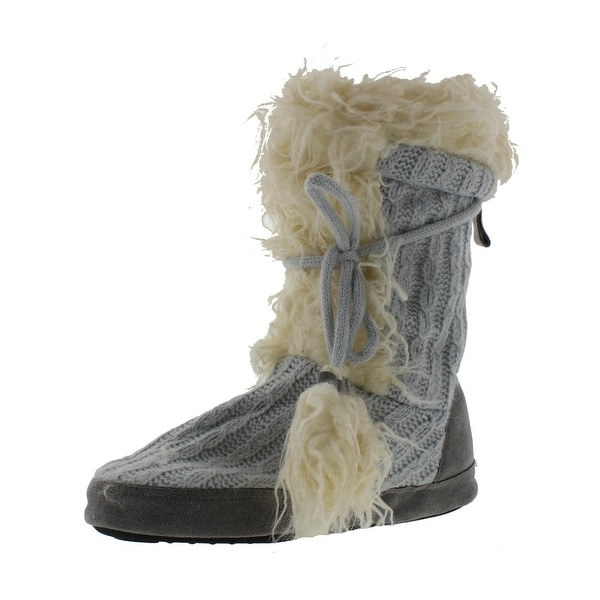 Muk Luks Womens Jewel Bootie Slippers KNit Faux Fur
