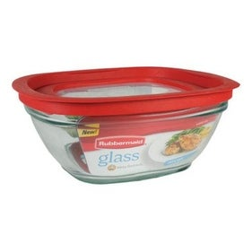 Rubbermaid 2856006 Glass Food Storage Container with Easy Find Lid, 8 cup