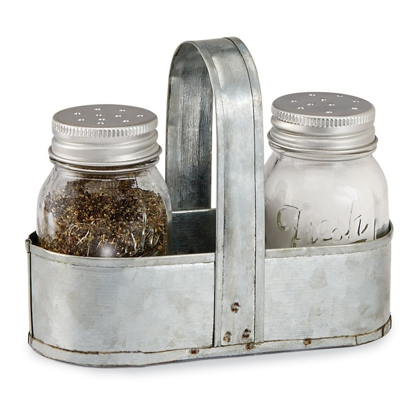 Mud Pie Salt-and-Pepper Shaker Set - Fresh Glass Spice Container Dispensers with Tin Caddy Holder - Silver - 3.5 in. x 4.5 in.
