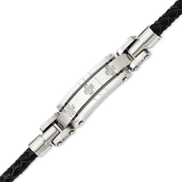 Stainless Steel Black Leather & Diamond Crosses 8.25in Bracelet