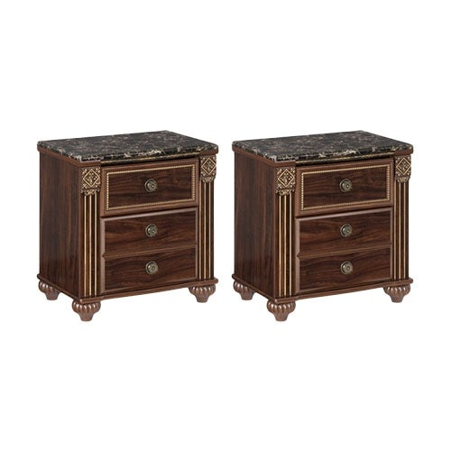 """Gabriela Two Drawer Night Stand Dark Reddish Brown 2 Pack Gabriela Two Drawer Night Stand Dark Reddish Brown"""