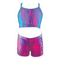 Reflectionz Girls Hot Pink Zebra Dot Pattern Top Shorts 2 Pc Set 8-10