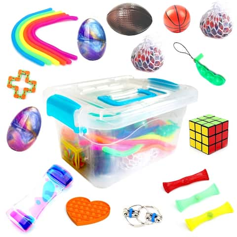 JoyX 25 Pack Bundle Fidget Set. Magic cube/Pop Fidget and More. Anti-Stress Toys for Kids, Teens and Adults from JoyX.