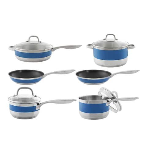 Chantal 10-Piece Stripes Stainless Steel with Cove Band Cookware Set