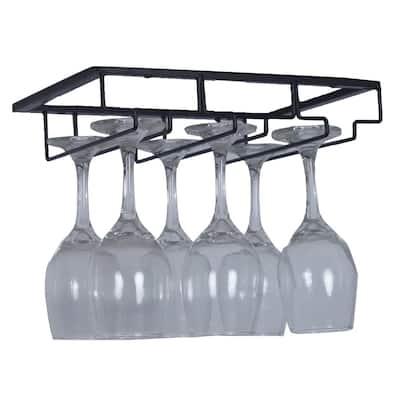 2 Pcs Single Rail Wine Glass Stemware Rack Holder Under Cabinet