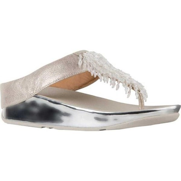 243417fb26f8 FitFlop Women  x27 s Rumba Wedge Thong Sandal Metallic Silver Leather