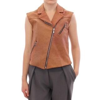 La Maison du Couturier La Maison du Couturier Brown Leather Jacket Vest