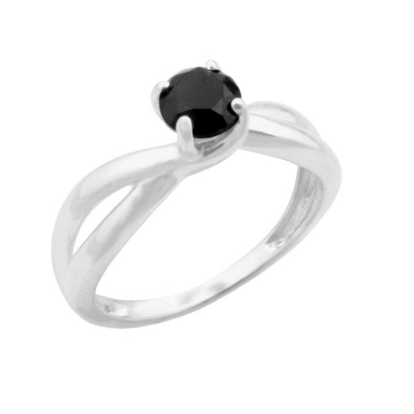 Brand New 0.80ct Round Brilliant Cut Black Natural Diamond Solitaire Ring
