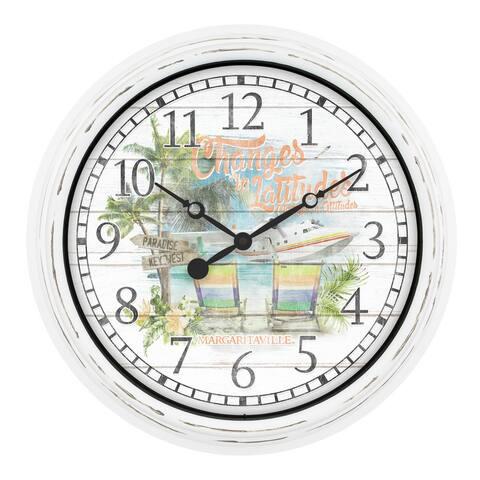 """La Crosse Clock 433-3841MV 15.75"""" Margaritaville In/Out Quartz Clock"""