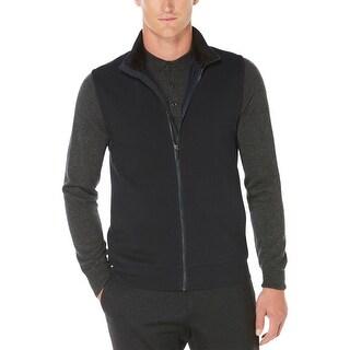 Perry Ellis Mens Outerwear Vest Zip-Front Textured