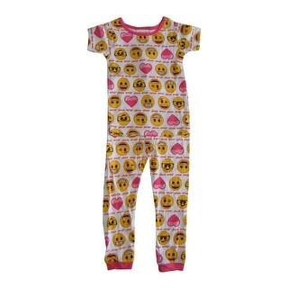 Emoji Girls White Pink Print Short Sleeve 2 Pcs Pajama Set