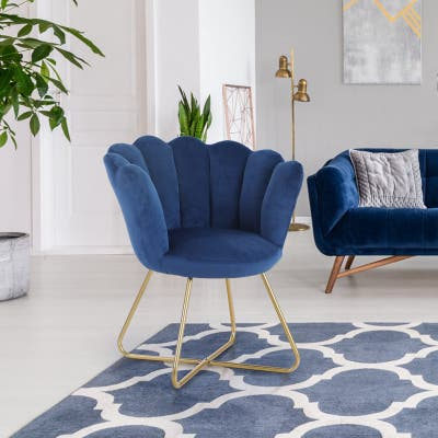 Sophia & William Accent Chair Velvet Leisure Chair Upholstered Chair Mid-Back Living Room Guest Reception Chair