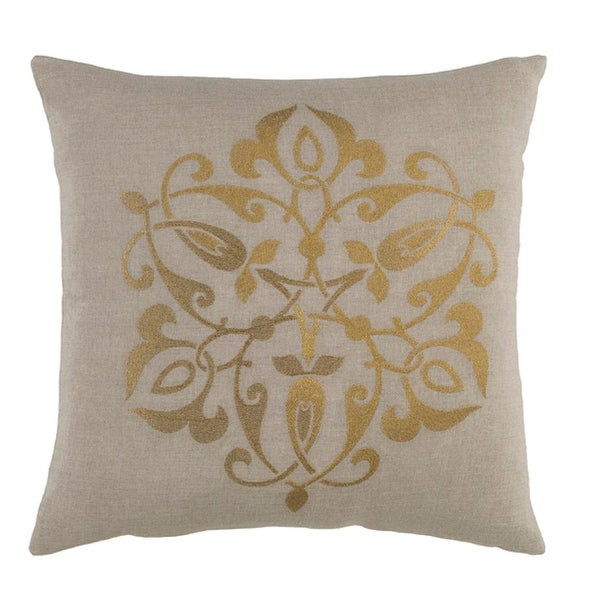 "22"" Medallion Chic Fog Gray and Antique Gold Decorative Throw Pillow - Down Filler"