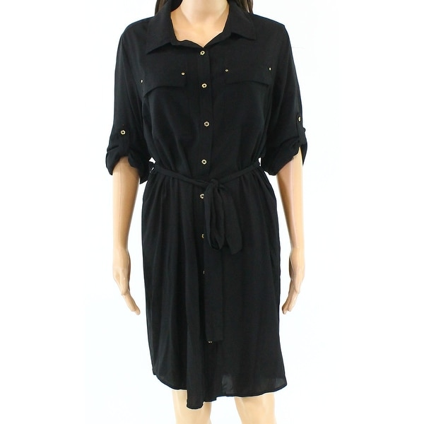 Shop Calvin Klein Black Womens Size 12 Button-Down Belted Shirt Dress -  Free Shipping On Orders Over  45 - Overstock - 21148630 7fcad1e12