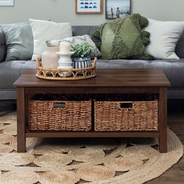 40-inch Coffee Table with Wicker Storage Baskets