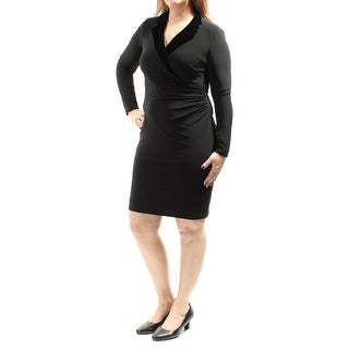 Womens Black Long Sleeve Above The Knee Body Con Casual Dress Size: 12