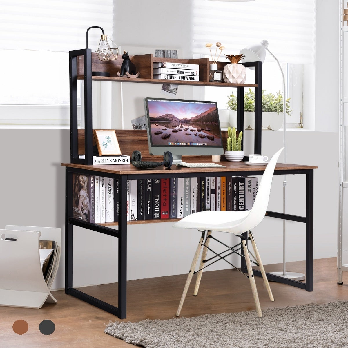 Costway Computer Desk with Hutch Bookshelf Home Office Study Wrting