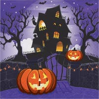 """Pack of 192 Blue and Black Haunted House Disposable Party Luncheon Napkins 6.5"""""""