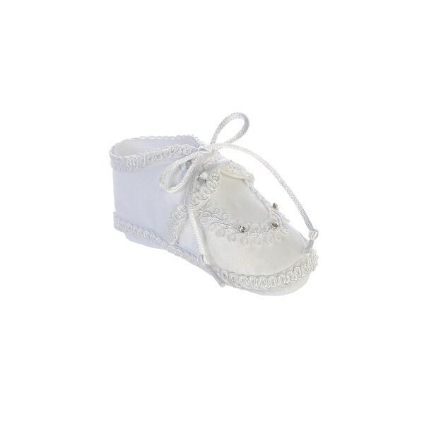 ba580764bb Tip Top Kids Baby Boys White Satin Rhinestones Laces Baptism Shoes