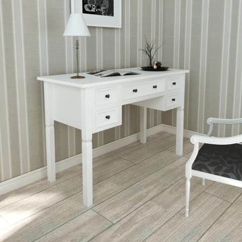 vidaXL Writing Desk with 5 Drawers White