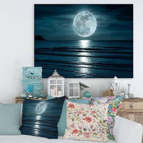 Designart 'Super Moon Over The Sea I' Modern Canvas Wall Art Print