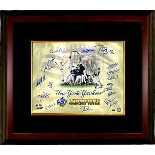 New York Yankees signed 16x20 Photo Custom Framed 1998 World Series Champions Celebration Collage 18 sigs (Scott Brosius MVP)