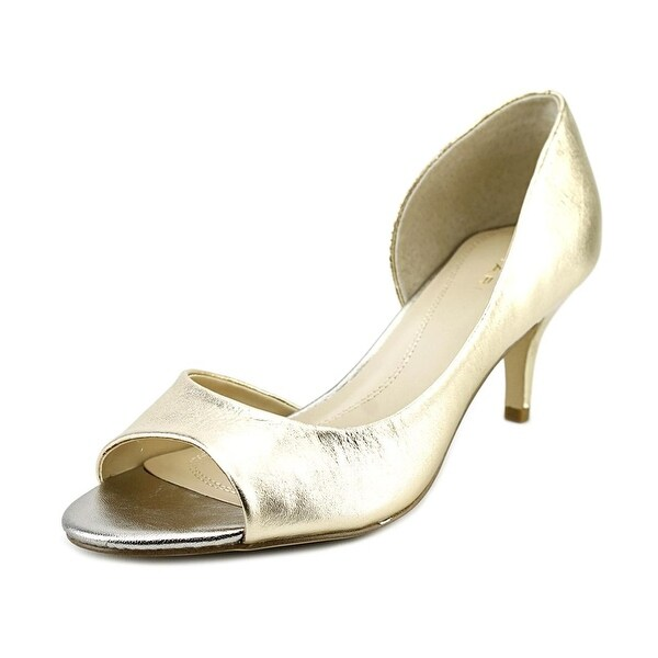 Tahari NEW Gold Women's Shoes Size 6M Race Open Toe Leather Pump