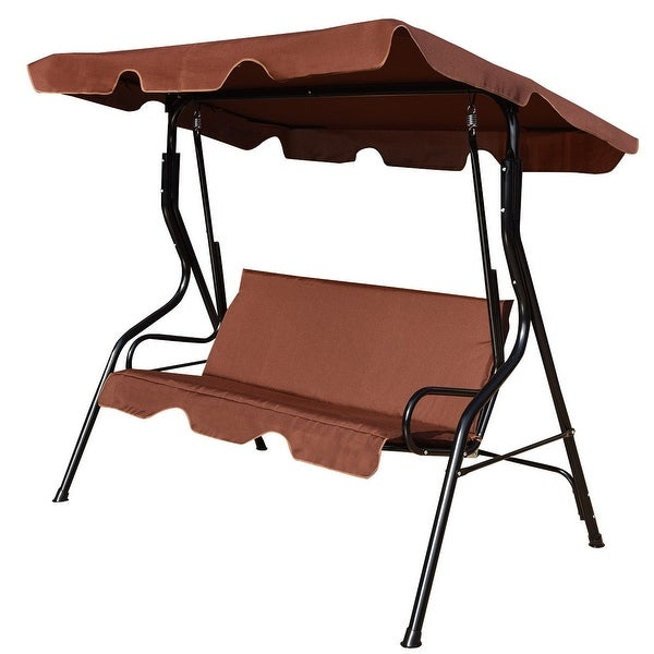 Merveilleux Costway 3 Seats Patio Canopy Swing Glider Hammock Cushioned Steel Frame  Backyar Coffee