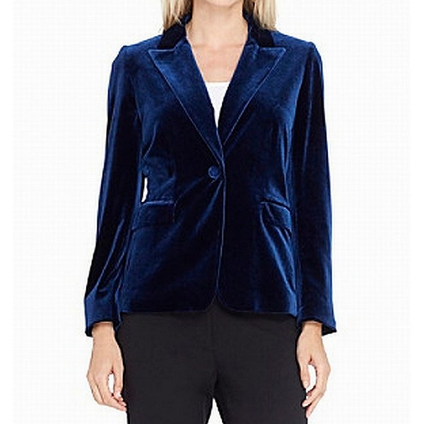 Tahari By ASL Deep Blue Womens Size 14 Velvet One-Button Jacket