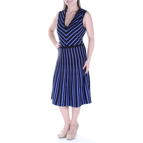 ac02d5b489 Shop Womens Black Striped Sleeveless Below The Knee Drop Waist Dress Size   L - On Sale - Free Shipping On Orders Over  45 - Overstock.com - 23453660